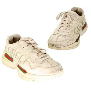 Gucci Mens Ivory Leather Rhyton Logo 9.5 Sneakers